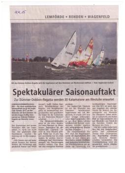 Ankündigung der Dümmer Dobben Regatta und allgemeines zum SCC in der Diepholzer Kreiszeitung